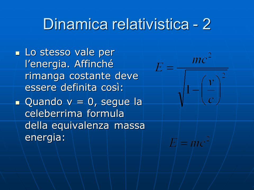 Dinamica relativistica Perché la quantità di moto di un sistema isolato si conservi, si dimostra che si deve definire nel seguente modo: Perché la qua