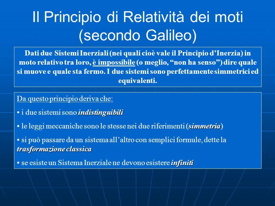 Il Principio di Relatività dei moti (secondo Galileo) Dati due Sistemi Inerziali (nei quali cioè vale il Principio d'Inerzia) in moto relativo tra loro, è impossibile (o meglio, non ha senso ) dire quale si muove e quale sta fermo.
