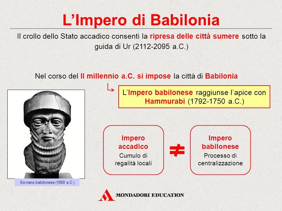 L'Impero di Babilonia Il crollo dello Stato accadico consentì la ripresa delle città sumere sotto la guida di Ur (2112-2095 a.C.) L'Impero babilonese