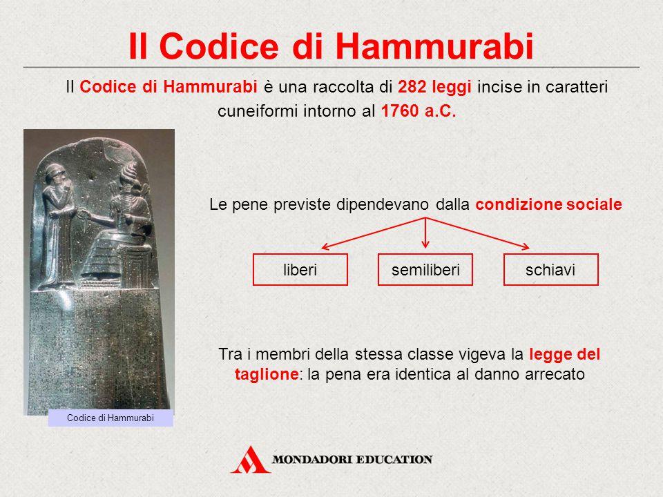 Il Codice di Hammurabi Il Codice di Hammurabi è una raccolta di 282 leggi incise in caratteri cuneiformi intorno al 1760 a.C. Le pene previste dipende