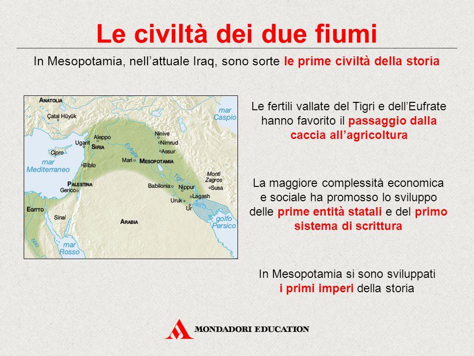 Le civiltà dei due fiumi In Mesopotamia, nell'attuale Iraq, sono sorte le prime civiltà della storia La maggiore complessità economica e sociale ha pr