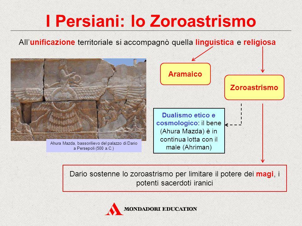 I Persiani: lo Zoroastrismo All'unificazione territoriale si accompagnò quella linguistica e religiosa Dualismo etico e cosmologico: il bene (Ahura Ma