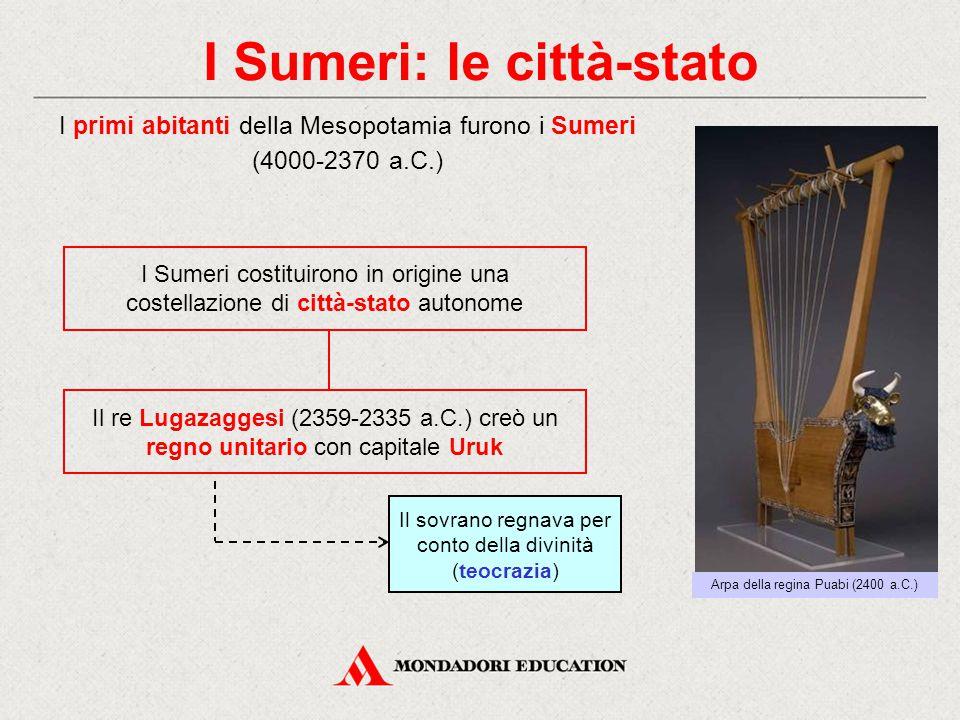 I Sumeri: le città-stato Il re Lugazaggesi (2359-2335 a.C.) creò un regno unitario con capitale Uruk I primi abitanti della Mesopotamia furono i Sumer
