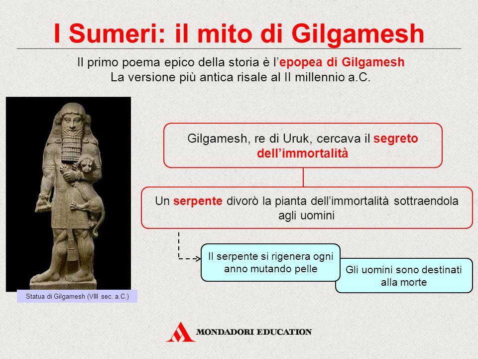 I Sumeri: il mito di Gilgamesh Il primo poema epico della storia è l'epopea di Gilgamesh La versione più antica risale al II millennio a.C. Gilgamesh,