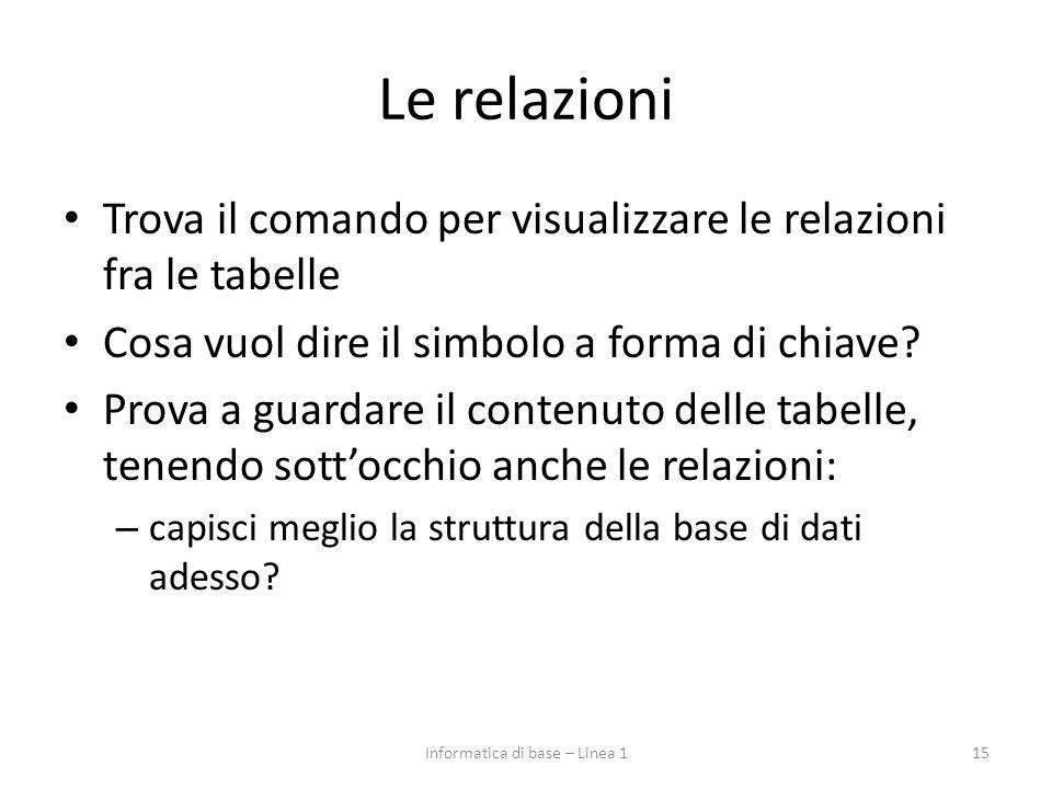 Le relazioni Trova il comando per visualizzare le relazioni fra le tabelle Cosa vuol dire il simbolo a forma di chiave.