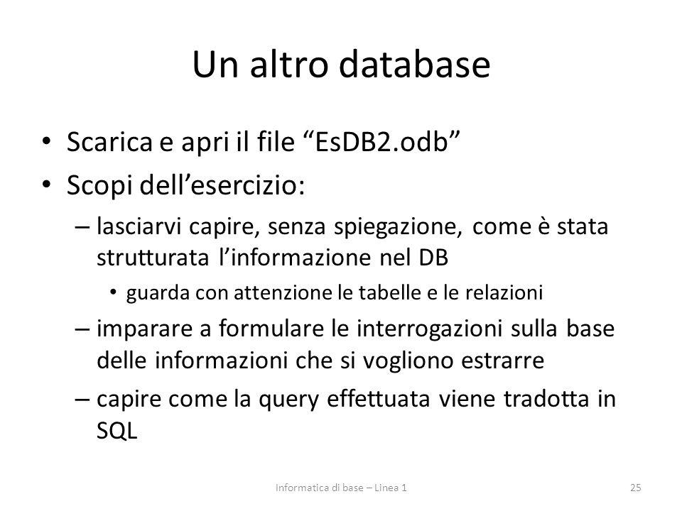 Un altro database Scarica e apri il file EsDB2.odb Scopi dell'esercizio: – lasciarvi capire, senza spiegazione, come è stata strutturata l'informazione nel DB guarda con attenzione le tabelle e le relazioni – imparare a formulare le interrogazioni sulla base delle informazioni che si vogliono estrarre – capire come la query effettuata viene tradotta in SQL Informatica di base – Linea 125