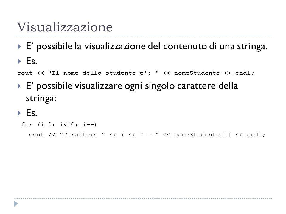 Input  Mediante cin è possibile ricevere in input una stringa.