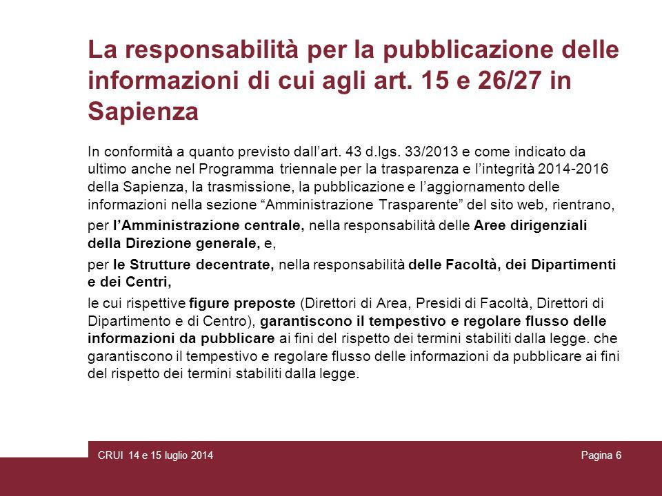 CRUI 14 e 15 luglio 2014Pagina 6 La responsabilità per la pubblicazione delle informazioni di cui agli art.