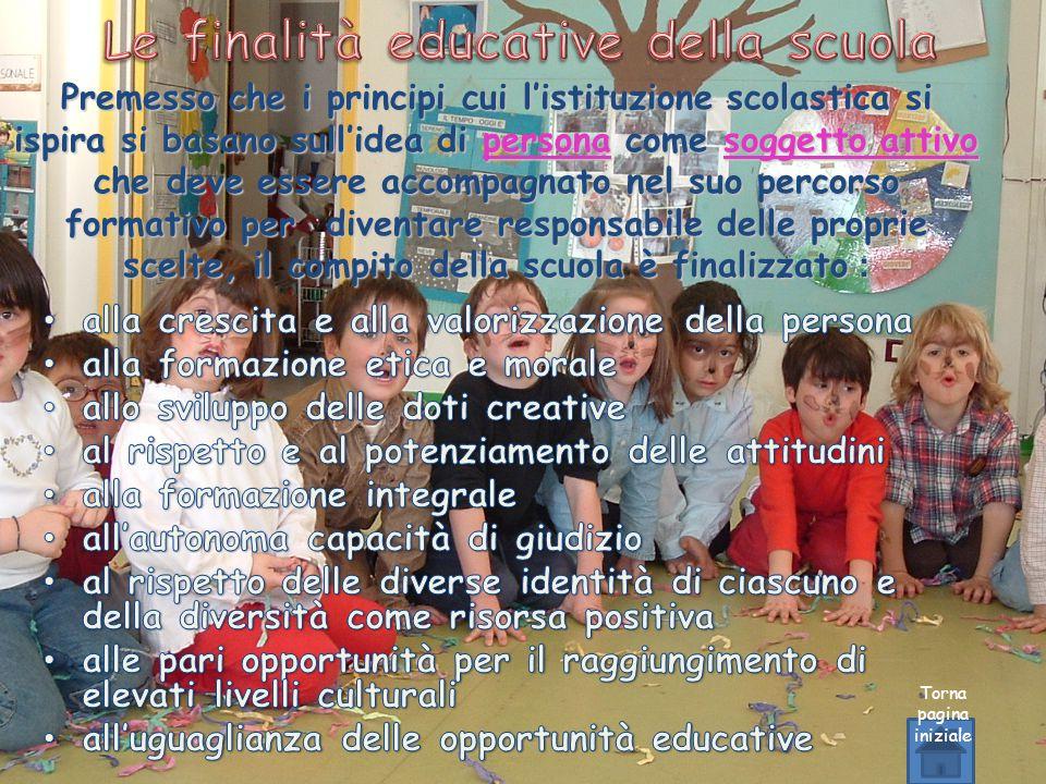 Torna pagina iniziale Premesso che i principi cui l'istituzione scolastica si ispira si basano sull'idea di persona come soggetto attivo che deve esse