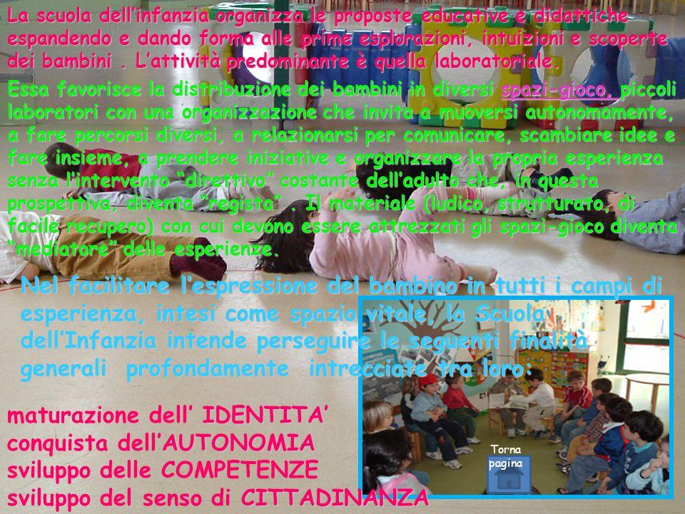 La scuola dell'infanzia organizza le proposte educative e didattiche espandendo e dando forma alle prime esplorazioni, intuizioni e scoperte dei bambini.