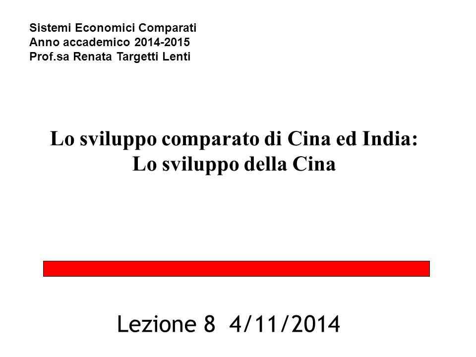 Lo sviluppo comparato di Cina ed India: Lo sviluppo della Cina Lezione 8 4/11/2014 Sistemi Economici Comparati Anno accademico 2014-2015 Prof.sa Renata Targetti Lenti