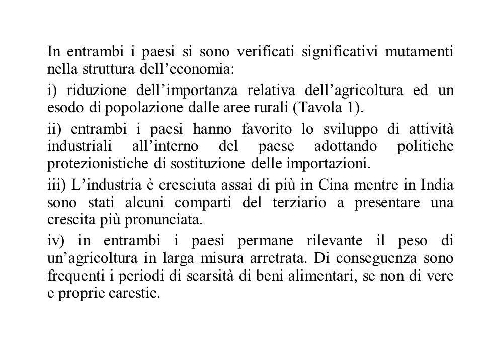 In entrambi i paesi si sono verificati significativi mutamenti nella struttura dell'economia: i) riduzione dell'importanza relativa dell'agricoltura ed un esodo di popolazione dalle aree rurali (Tavola 1).