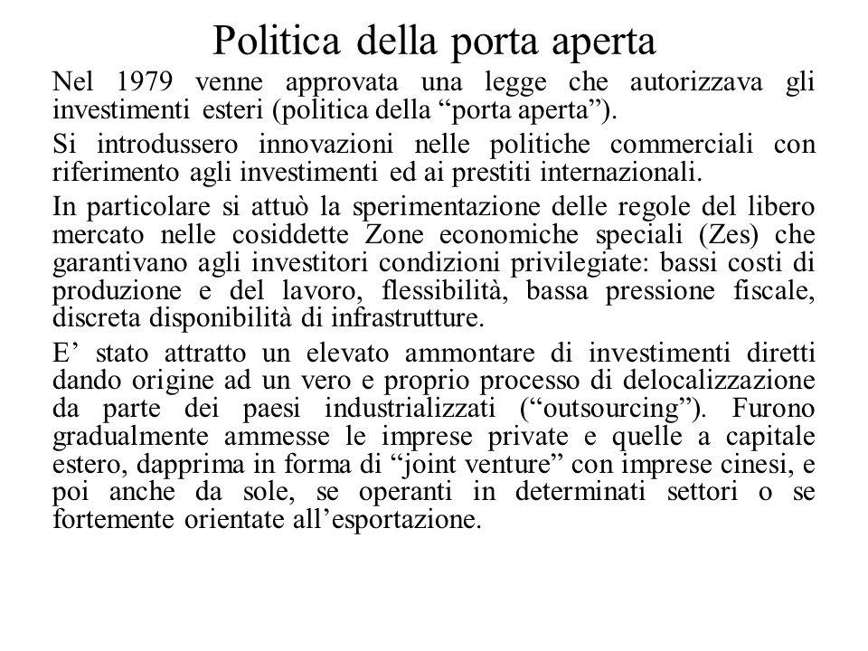 Politica della porta aperta Nel 1979 venne approvata una legge che autorizzava gli investimenti esteri (politica della porta aperta ).