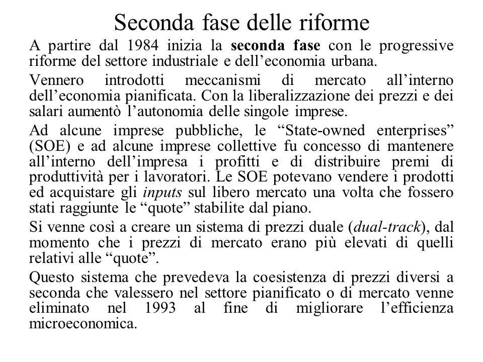 Seconda fase delle riforme A partire dal 1984 inizia la seconda fase con le progressive riforme del settore industriale e dell'economia urbana.