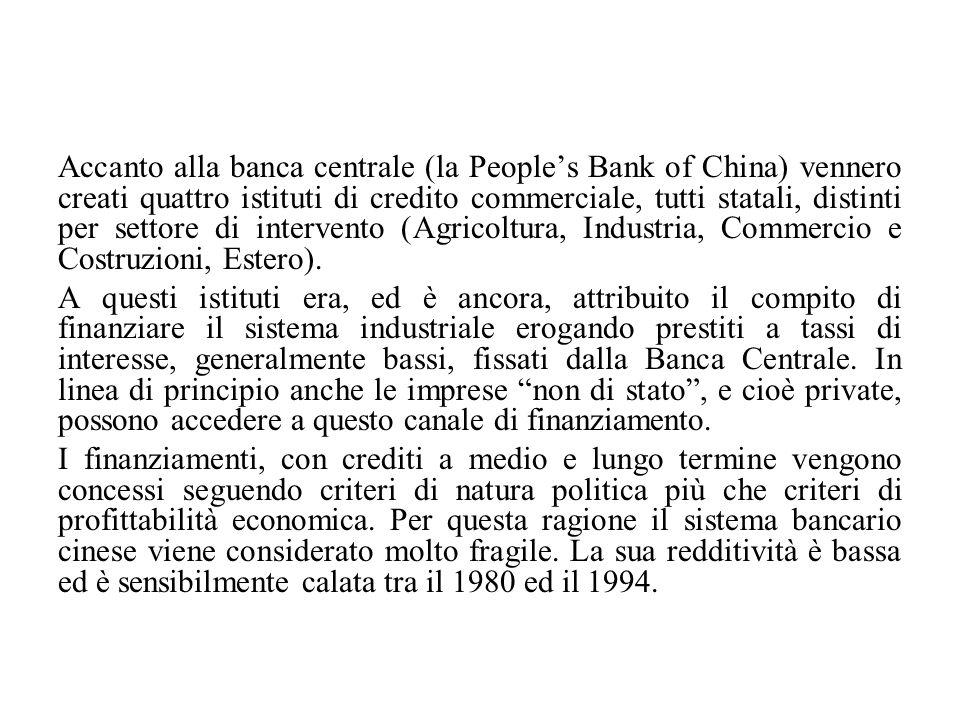 Accanto alla banca centrale (la People's Bank of China) vennero creati quattro istituti di credito commerciale, tutti statali, distinti per settore di intervento (Agricoltura, Industria, Commercio e Costruzioni, Estero).
