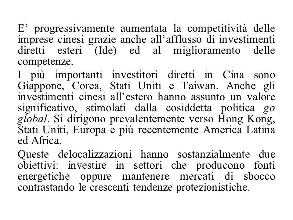 E' progressivamente aumentata la competitività delle imprese cinesi grazie anche all'afflusso di investimenti diretti esteri (Ide) ed al miglioramento delle competenze.
