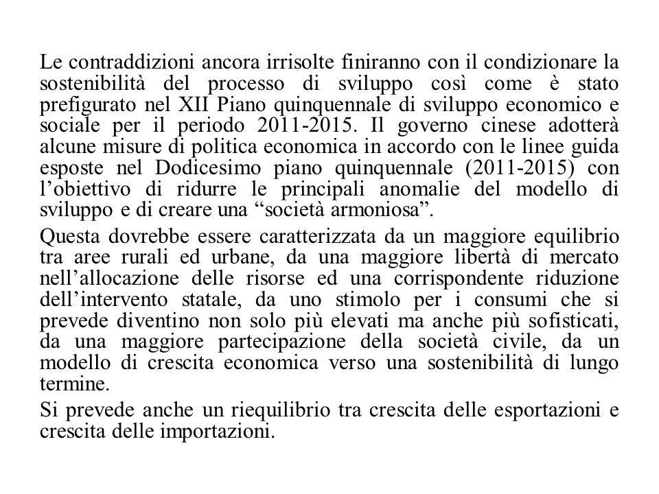 Le contraddizioni ancora irrisolte finiranno con il condizionare la sostenibilità del processo di sviluppo così come è stato prefigurato nel XII Piano quinquennale di sviluppo economico e sociale per il periodo 2011-2015.