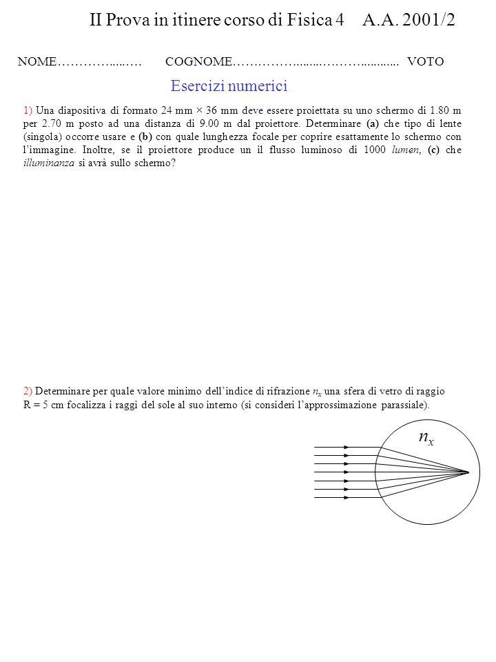 4) Una lente convergente di lunghezza focale f 1 = 20 cm è posta a una distanza d = 60 cm da una lente divergente con f 2 = 30 cm.
