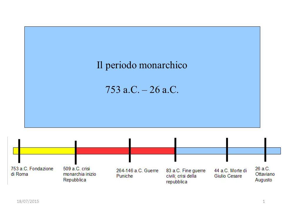 Il periodo monarchico 753 a.C. – 26 a.C. 18/07/20151