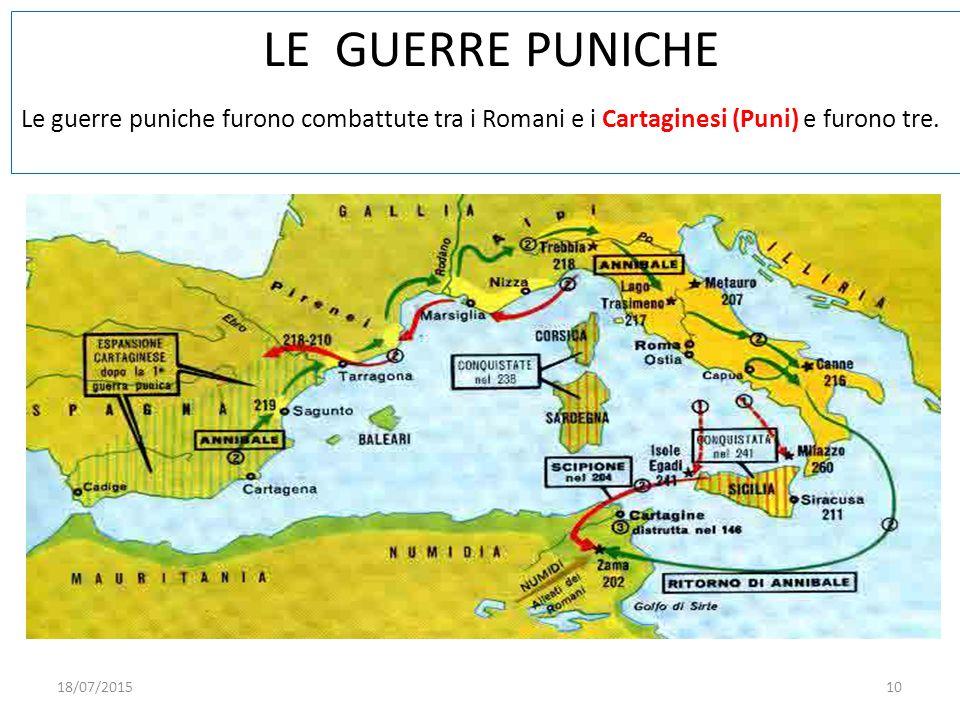 LE GUERRE PUNICHE Le guerre puniche furono combattute tra i Romani e i Cartaginesi (Puni) e furono tre. 18/07/201510