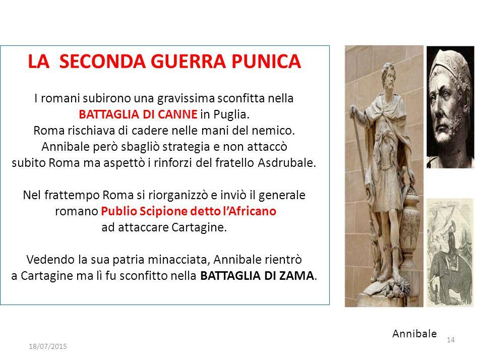 LA SECONDA GUERRA PUNICA I romani subirono una gravissima sconfitta nella BATTAGLIA DI CANNE in Puglia. Roma rischiava di cadere nelle mani del nemico