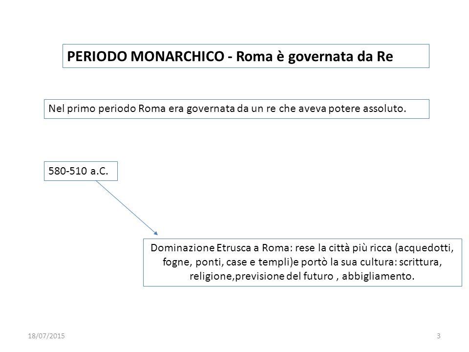 PERIODO MONARCHICO - Roma è governata da Re Nel primo periodo Roma era governata da un re che aveva potere assoluto. 580-510 a.C. Dominazione Etrusca