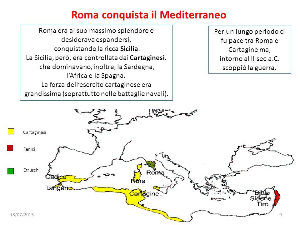 Roma conquista il Mediterraneo Roma era al suo massimo splendore e desiderava espandersi, conquistando la ricca Sicilia. La Sicilia, però, era control