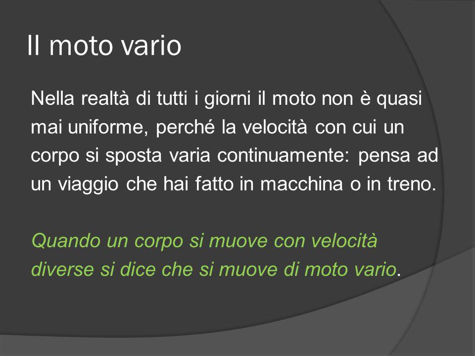 Il moto vario Nella realtà di tutti i giorni il moto non è quasi mai uniforme, perché la velocità con cui un corpo si sposta varia continuamente: pens