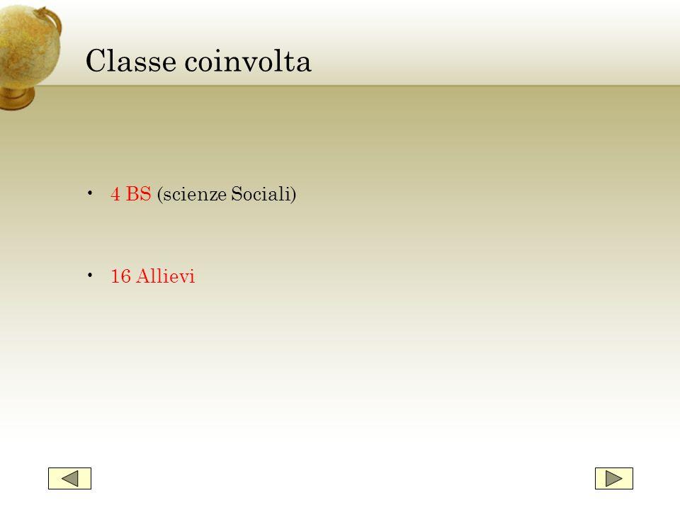 Classe coinvolta 4 BS (scienze Sociali) 16 Allievi