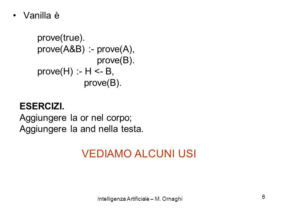 Intelligenza Artificiale – M. Ornaghi 6 Vanilla è prove(true). prove(A&B) :- prove(A), prove(B). prove(H) :- H <- B, prove(B). ESERCIZI. Aggiungere la