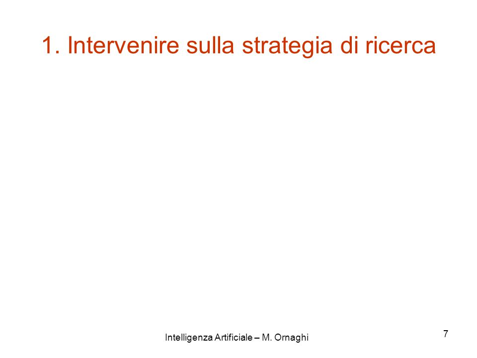 Intelligenza Artificiale – M. Ornaghi 7 1. Intervenire sulla strategia di ricerca