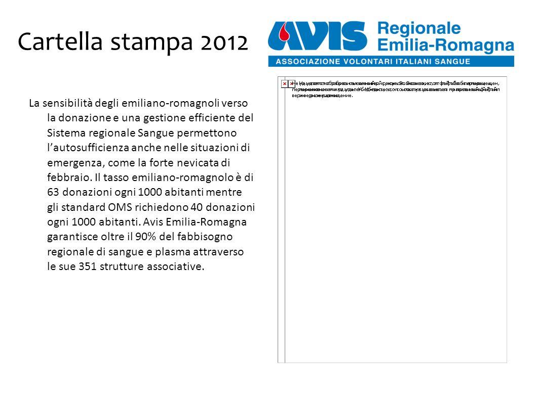 Cartella stampa 2012 La sensibilità degli emiliano-romagnoli verso la donazione e una gestione efficiente del Sistema regionale Sangue permettono l'autosufficienza anche nelle situazioni di emergenza, come la forte nevicata di febbraio.