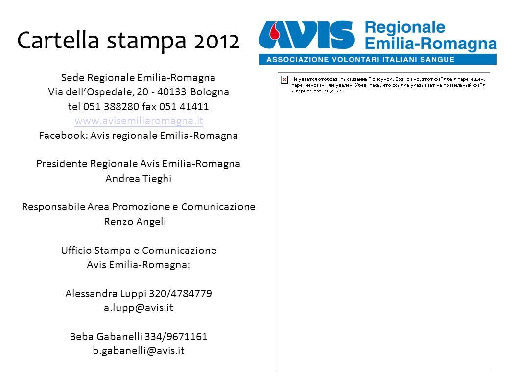 Cartella stampa 2012 Sede Regionale Emilia-Romagna Via dell'Ospedale, 20 - 40133 Bologna tel 051 388280 fax 051 41411 www.avisemiliaromagna.it Facebook: Avis regionale Emilia-Romagna Presidente Regionale Avis Emilia-Romagna Andrea Tieghi Responsabile Area Promozione e Comunicazione Renzo Angeli Ufficio Stampa e Comunicazione Avis Emilia-Romagna: Alessandra Luppi 320/4784779 a.lupp@avis.it Beba Gabanelli 334/9671161 b.gabanelli@avis.it