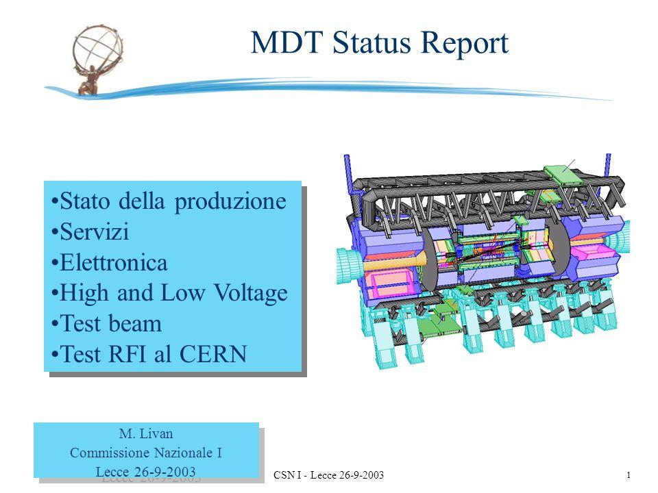 1 M. Livan - Pavia CSN I - Lecce 26-9-2003 Stato della produzione Servizi Elettronica High and Low Voltage Test beam Test RFI al CERN Stato della prod