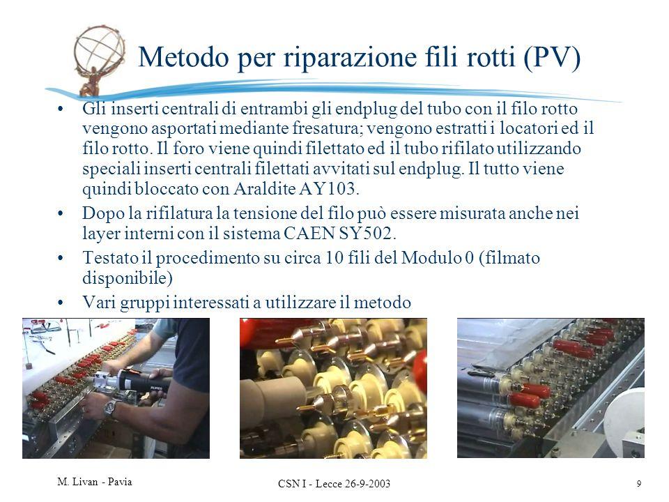 9 M. Livan - Pavia CSN I - Lecce 26-9-2003 Metodo per riparazione fili rotti (PV) Gli inserti centrali di entrambi gli endplug del tubo con il filo ro
