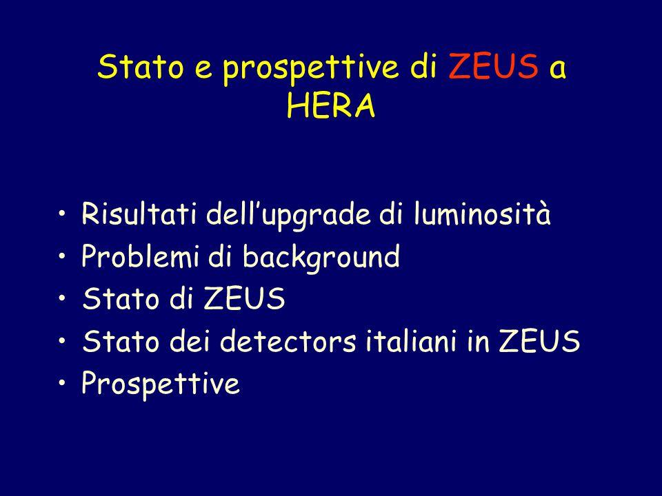 Stato e prospettive di ZEUS a HERA Risultati dell'upgrade di luminosità Problemi di background Stato di ZEUS Stato dei detectors italiani in ZEUS Prospettive