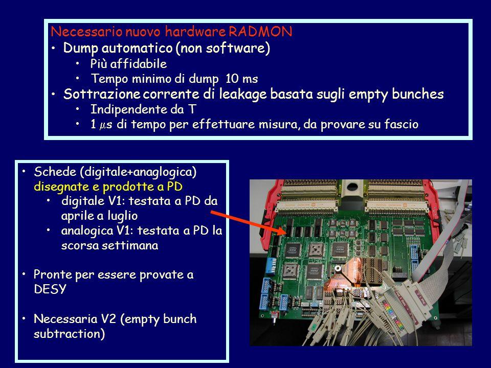Schede (digitale+anaglogica) disegnate e prodotte a PD digitale V1: testata a PD da aprile a luglio analogica V1: testata a PD la scorsa settimana Pronte per essere provate a DESY Necessaria V2 (empty bunch subtraction) Necessario nuovo hardware RADMON Dump automatico (non software) Più affidabile Tempo minimo di dump 10 ms Sottrazione corrente di leakage basata sugli empty bunches Indipendente da T 1  s di tempo per effettuare misura, da provare su fascio