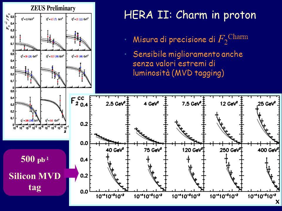HERA II: Charm in proton 500 pb -1 Silicon MVD tag Misura di precisione di F 2 Charm Sensibile miglioramento anche senza valori estremi di luminosità (MVD tagging)