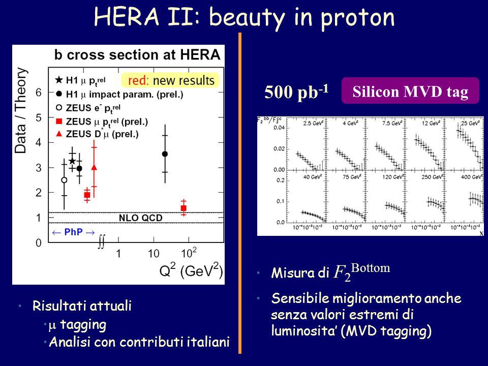 500 pb -1 Misura di F 2 Bottom Sensibile miglioramento anche senza valori estremi di luminosita' (MVD tagging) Silicon MVD tag HERA II: beauty in proton Risultati attuali  tagging Analisi con contributi italiani