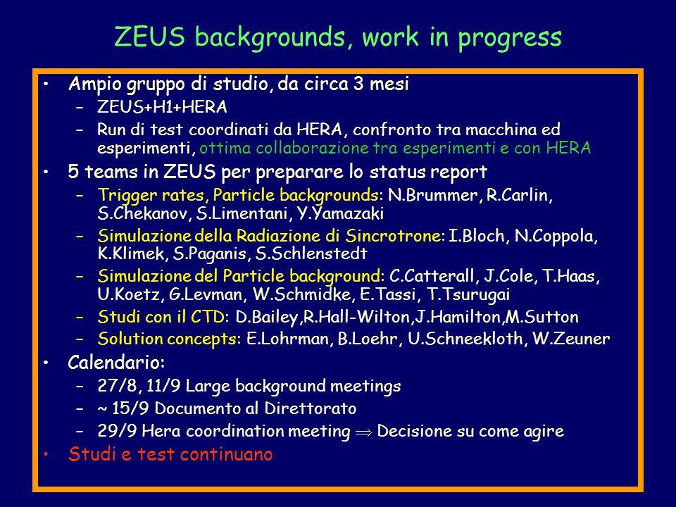 ZEUS backgrounds, work in progress Ampio gruppo di studio, da circa 3 mesi –ZEUS+H1+HERA –Run di test coordinati da HERA, confronto tra macchina ed esperimenti, ottima collaborazione tra esperimenti e con HERA 5 teams in ZEUS per preparare lo status report –Trigger rates, Particle backgrounds: N.Brummer, R.Carlin, S.Chekanov, S.Limentani, Y.Yamazaki –Simulazione della Radiazione di Sincrotrone: I.Bloch, N.Coppola, K.Klimek, S.Paganis, S.Schlenstedt –Simulazione del Particle background: C.Catterall, J.Cole, T.Haas, U.Koetz, G.Levman, W.Schmidke, E.Tassi, T.Tsurugai –Studi con il CTD: D.Bailey,R.Hall-Wilton,J.Hamilton,M.Sutton –Solution concepts: E.Lohrman, B.Loehr, U.Schneekloth, W.Zeuner Calendario: –27/8, 11/9 Large background meetings –~ 15/9 Documento al Direttorato –29/9 Hera coordination meeting  Decisione su come agire Studi e test continuano