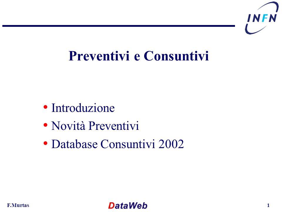 F.Murtas1 Preventivi e Consuntivi Introduzione Novità Preventivi Database Consuntivi 2002