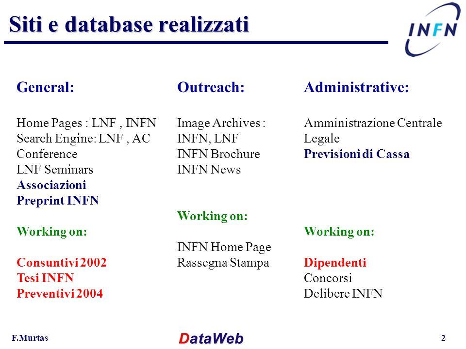 F.Murtas3 Web Servers :  INFN (www.infn.it)  Amministrazione Centrale (www.ac.infn.it)  Laboratori Nazionali di Frascati (www.lnf.infn.it)  Altri virtual host per la divulgazione : Scienza per tutti, Frontier Science Hardware Hardware I Servers (web e database) risiedono fisicamente al Centro di Calcolo LNF (gruppo di continuità, firewall, AFS servers, assistenza …) I server sono installati in un Rack Dell con :  5 cpu 1-unità (P3 1GHz, RAM 0.5Gb, AFS) … web servers  2 cpu 2-unità (P3 1GHz, RAM 1.0Gb, HD 72Gb) database server Database Server (mysqlsrv.lnf.infn.it ) :  Database Driver (MySQL)  Database: dati a carattere scientifico,divulgativo, amministrativo Tutti i server sono ridondati con RAID System.