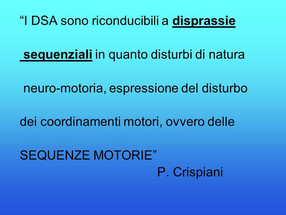 """""""I DSA sono riconducibili a disprassie sequenziali in quanto disturbi di natura neuro-motoria, espressione del disturbo dei coordinamenti motori, ovve"""
