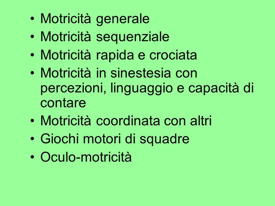 Motricità generale Motricità sequenziale Motricità rapida e crociata Motricità in sinestesia con percezioni, linguaggio e capacità di contare Motricit