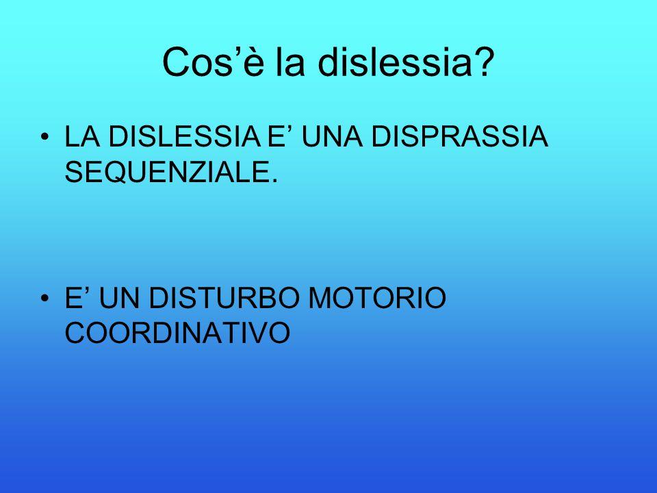 Cos'è la dislessia? LA DISLESSIA E' UNA DISPRASSIA SEQUENZIALE. E' UN DISTURBO MOTORIO COORDINATIVO