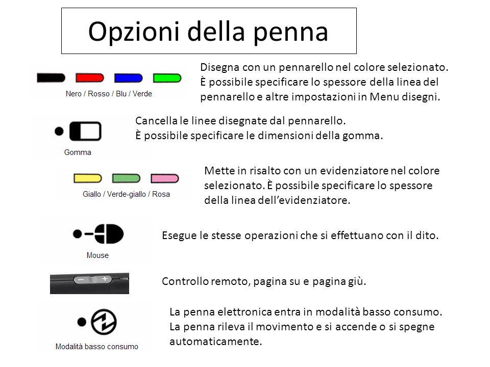 Opzioni della penna Disegna con un pennarello nel colore selezionato. È possibile specificare lo spessore della linea del pennarello e altre impostazi