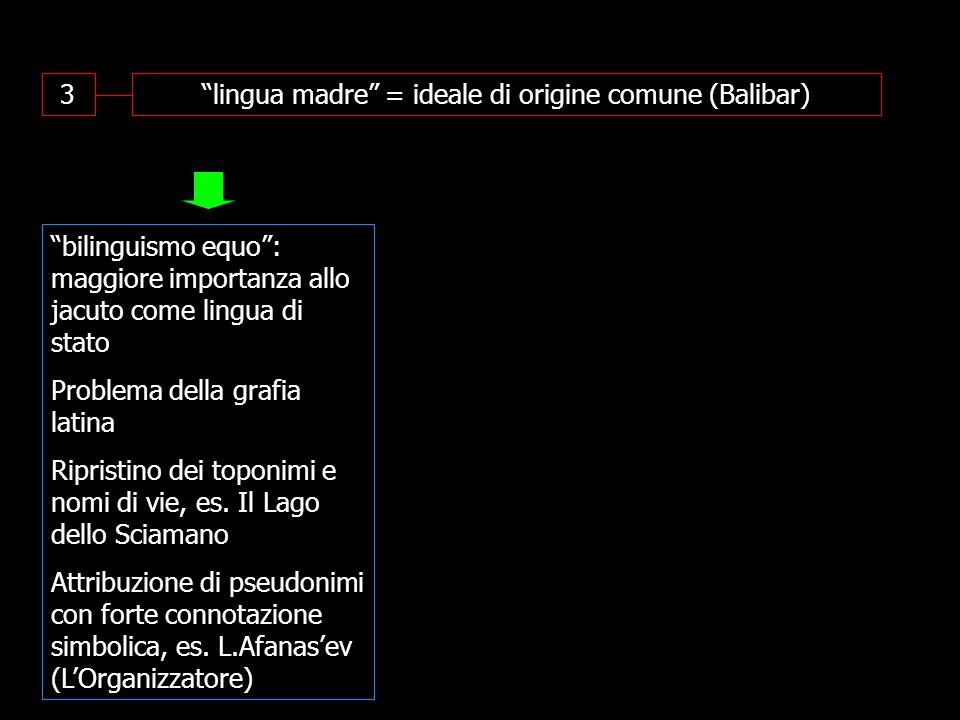 3 lingua madre = ideale di origine comune (Balibar) bilinguismo equo : maggiore importanza allo jacuto come lingua di stato Problema della grafia latina Ripristino dei toponimi e nomi di vie, es.