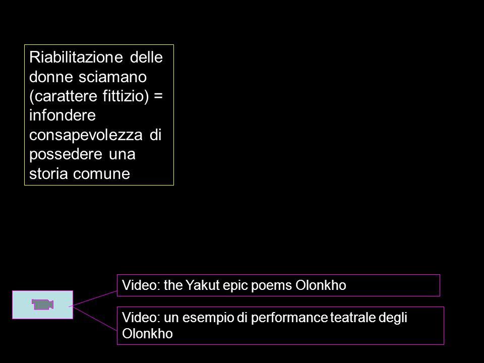 Video: the Yakut epic poems Olonkho Video: un esempio di performance teatrale degli Olonkho Riabilitazione delle donne sciamano (carattere fittizio) = infondere consapevolezza di possedere una storia comune
