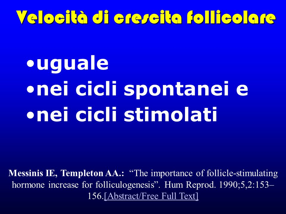 "Velocità di crescita follicolare uguale nei cicli spontanei e nei cicli stimolati Messinis IE, Templeton AA.: ""The importance of follicle-stimulating"