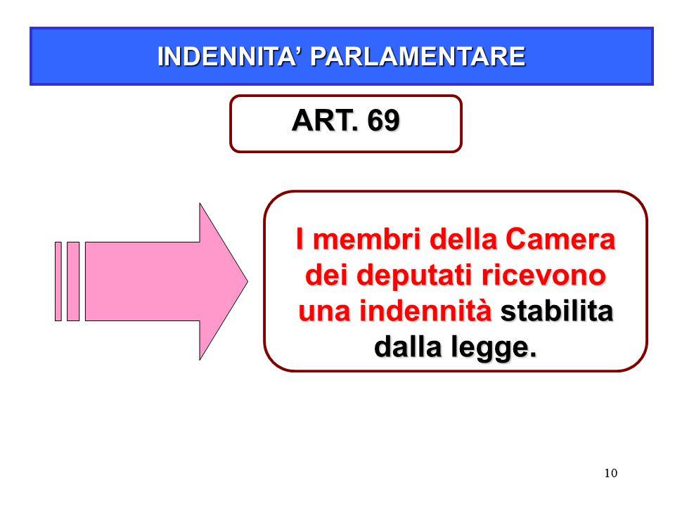 10 INDENNITA' PARLAMENTARE I membri della Camera dei deputati ricevono una indennità stabilita dalla legge. ART. 69